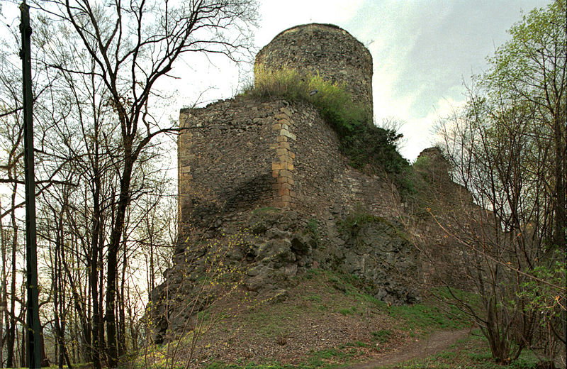 Widok od południa na zamek górny. Licencja CC BY-SA 3.0
